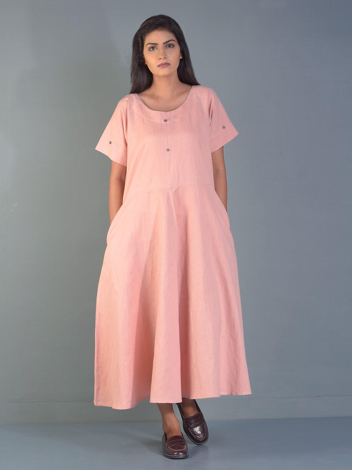 Pink Circular Linen Maxi Dress