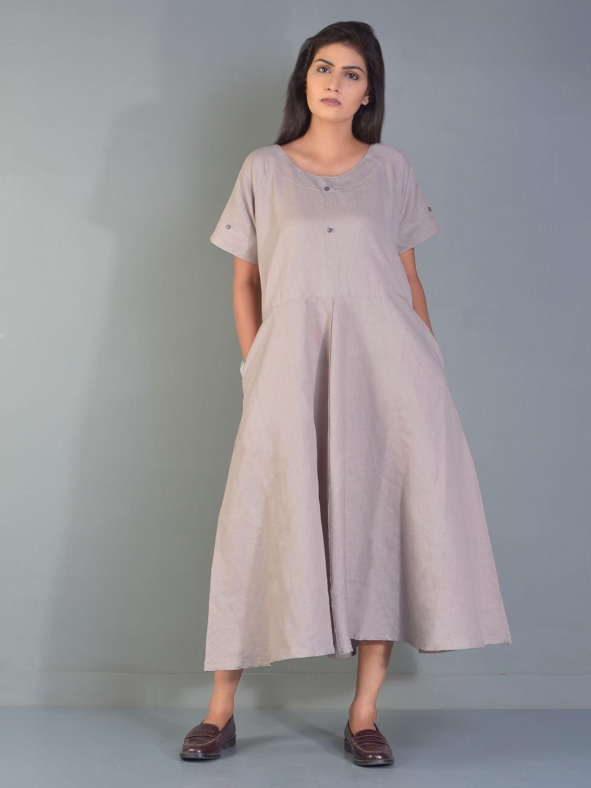 Grey Circular Linen Maxi Dress