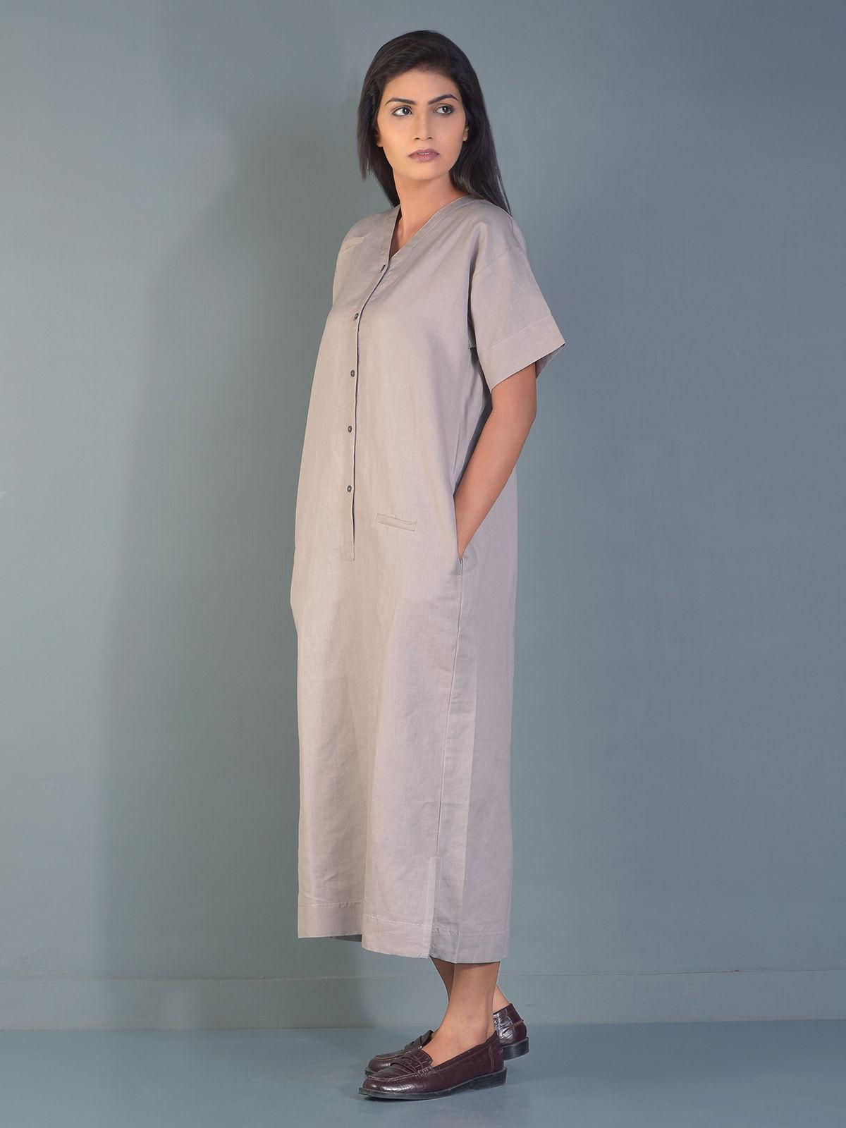 Grey Mason Linen Maxi Dress