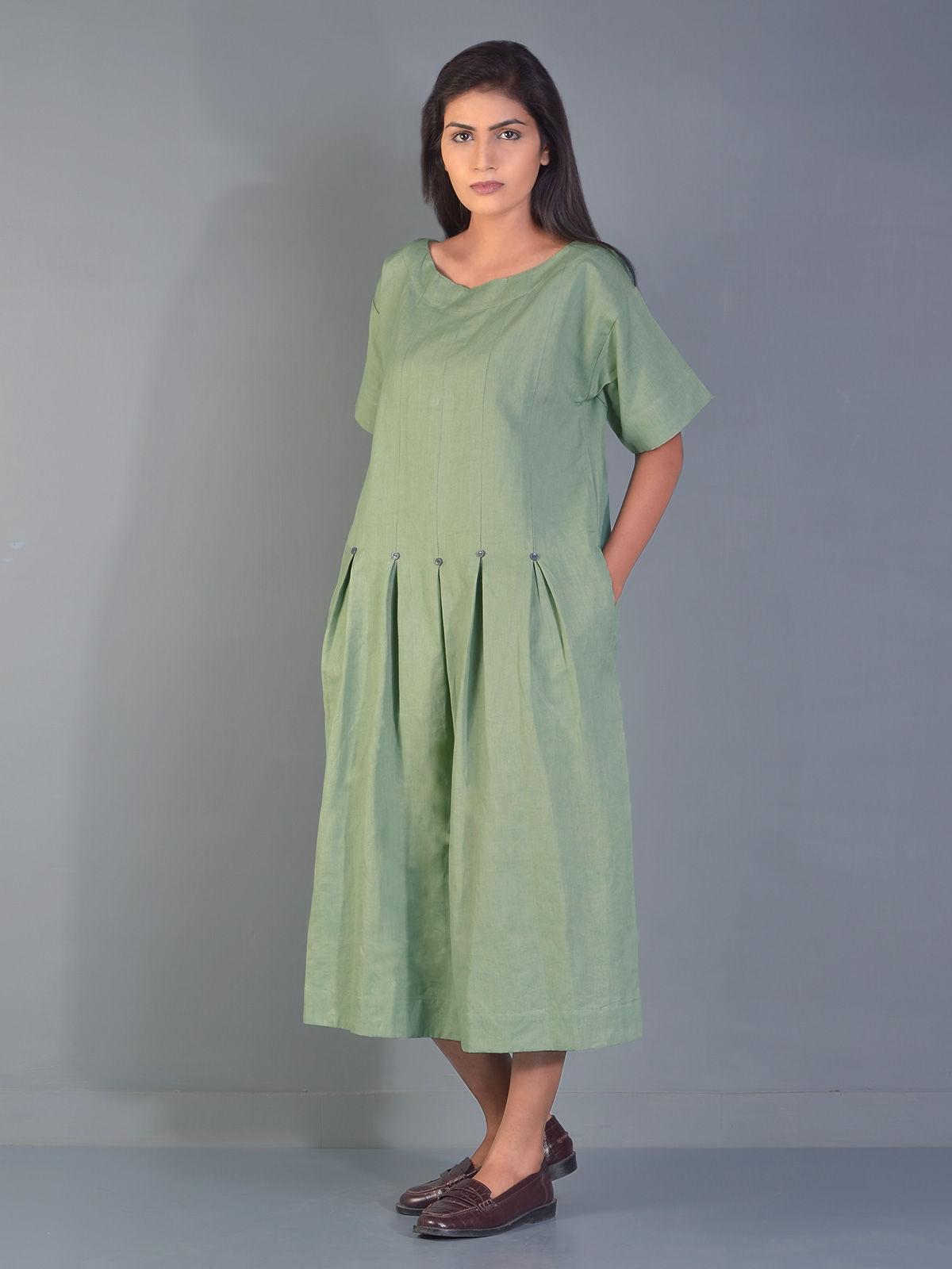 Olive Green Umbrella Linen Tunic