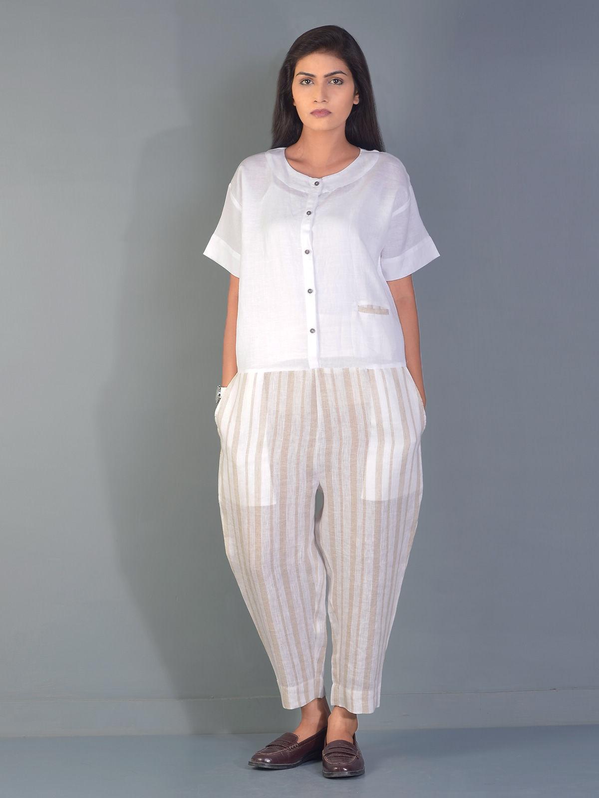 White Striped Gondola Linen Jump Suit