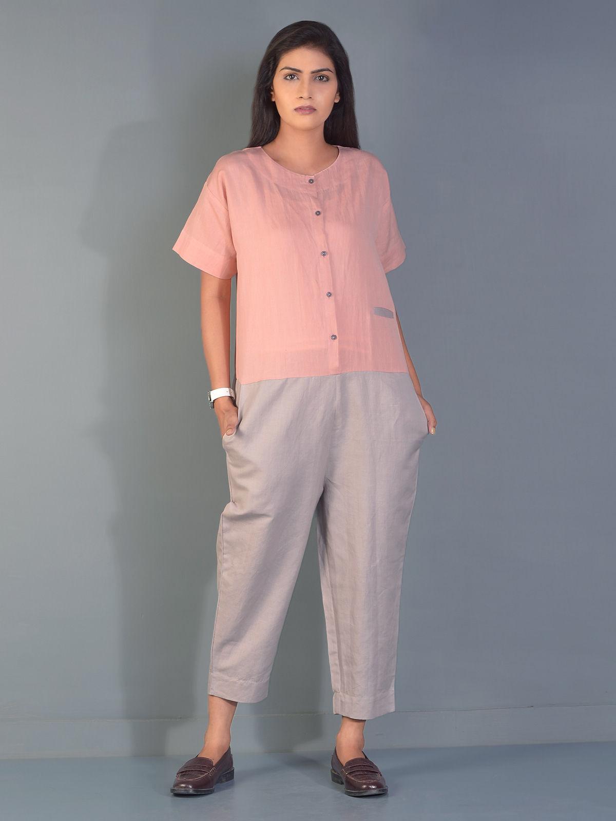 Pink and Grey Gondola Linen Jump Suit