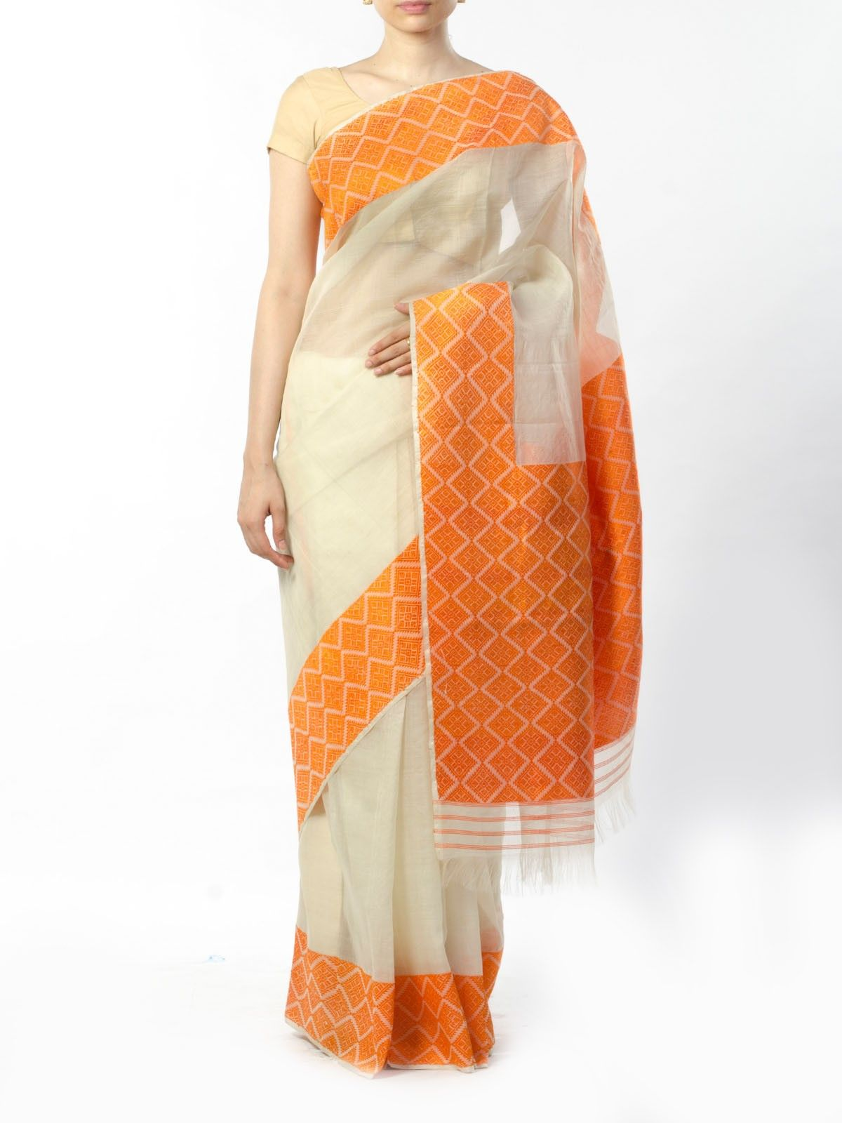 Off-White Muga Silk Saree with Orange Border