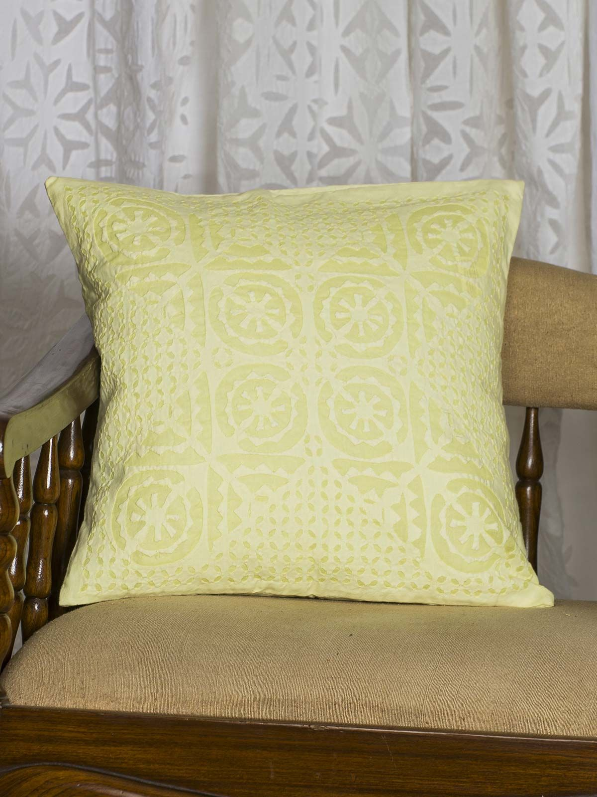 Yellow Symmetric print Cushion Cover
