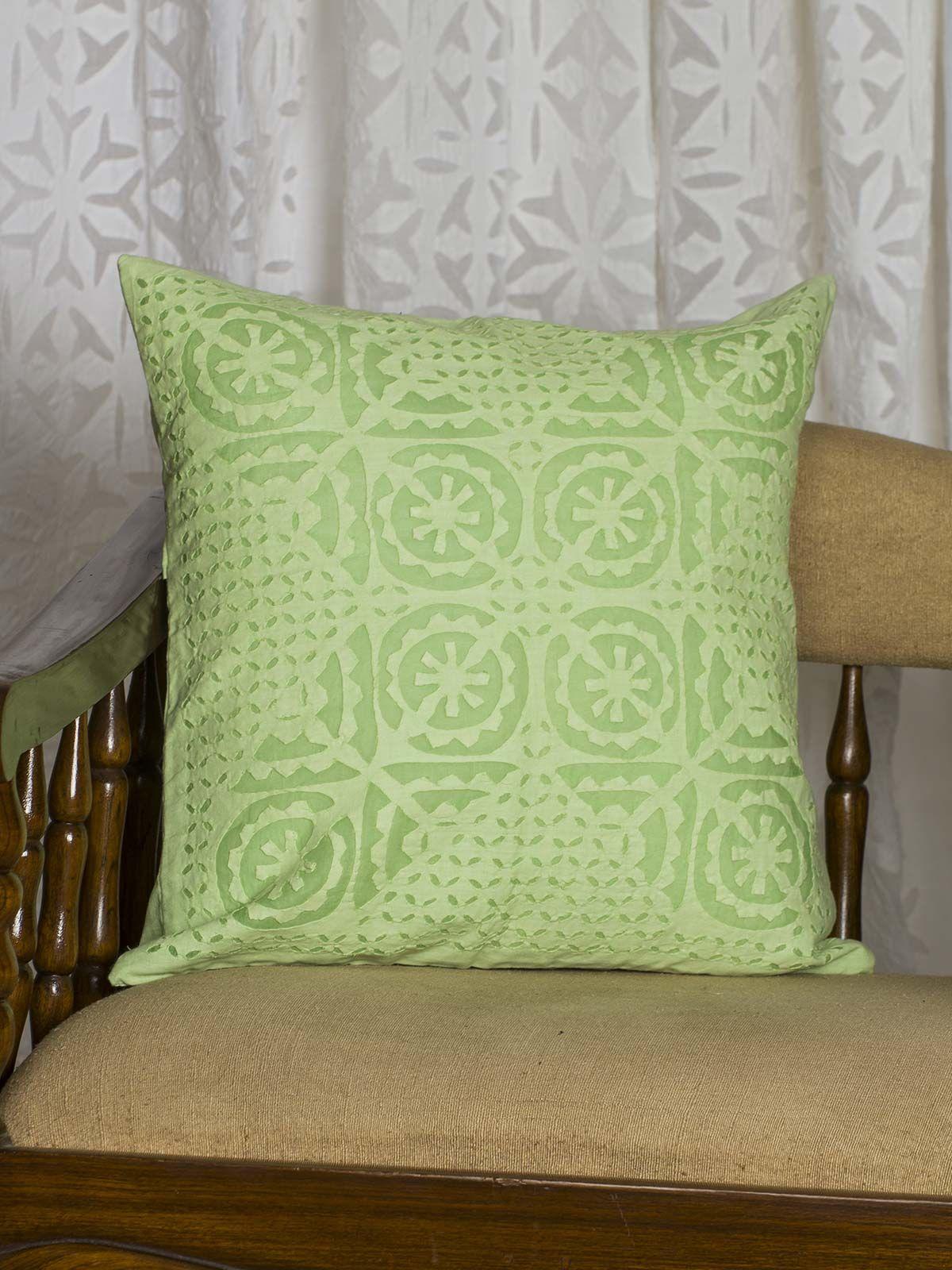 Green Geometric Print Cushion Cover