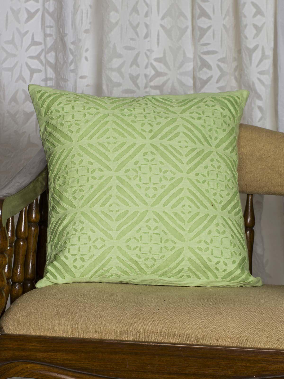 Green Symmetric print Cushion Cover