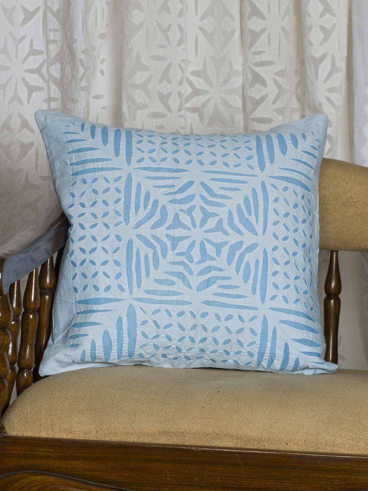Blue Geometric Print Cushion Cover