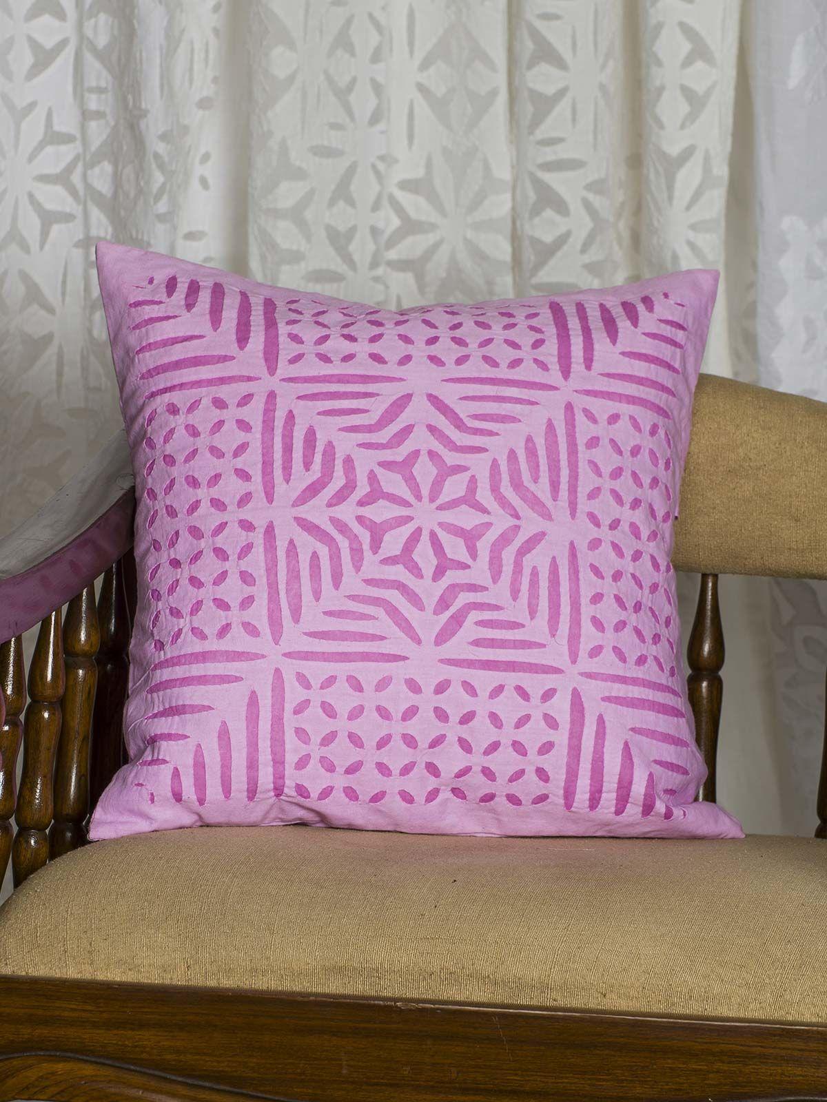 Pink  Symmetric print Cushion Cover