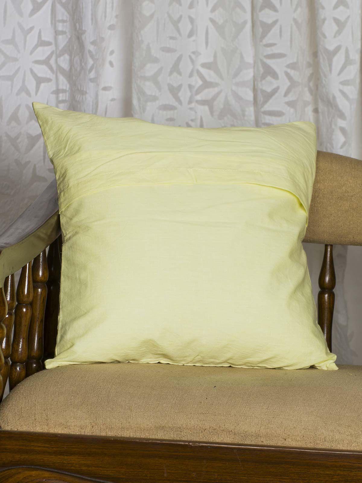 Yellow Geometric Print Cushion Cover