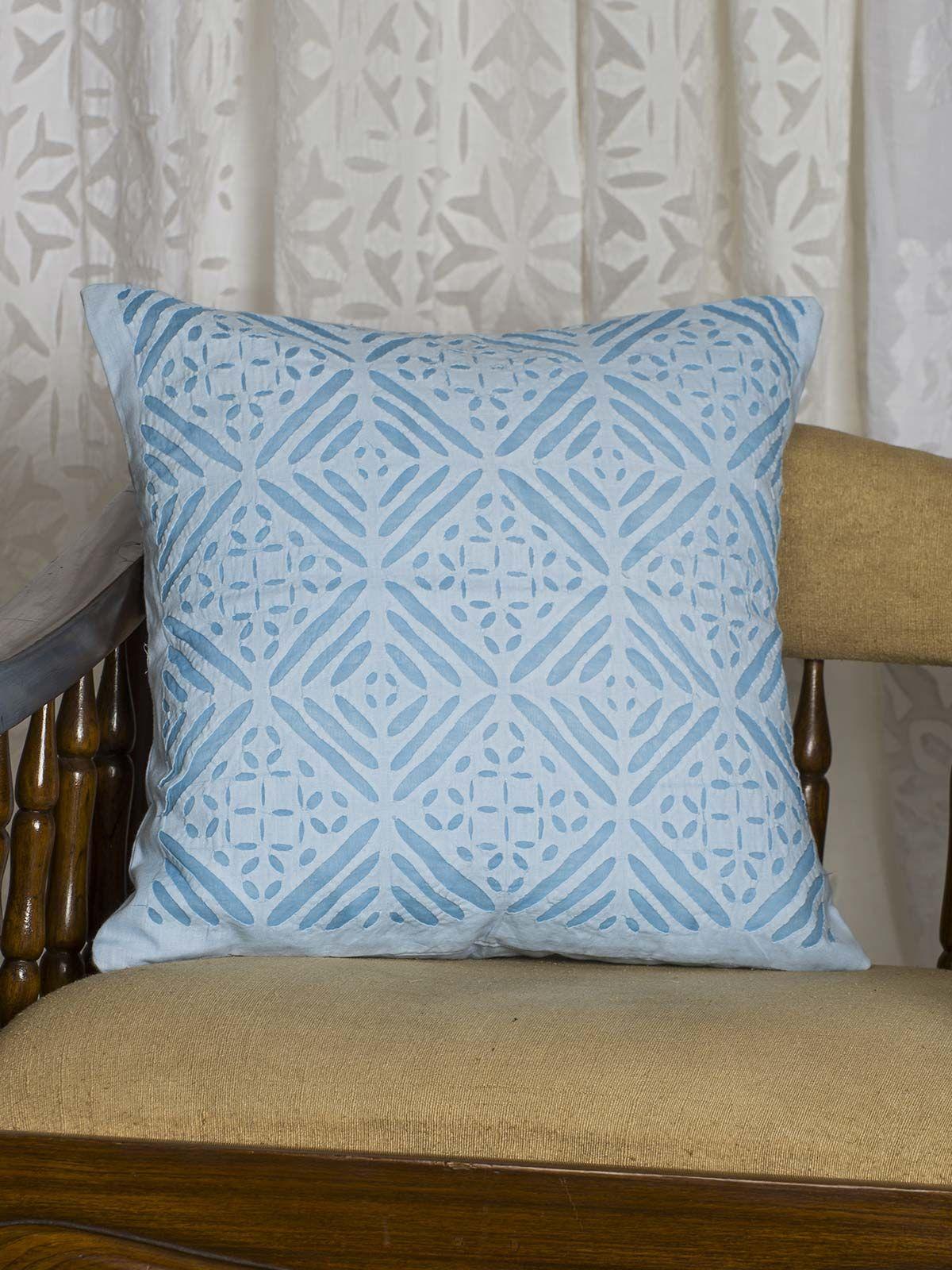 Blue  Symmetric print Cushion Cover
