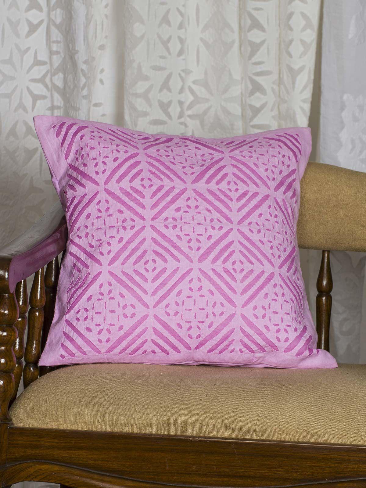 Pink Geometric Print Cushion Cover