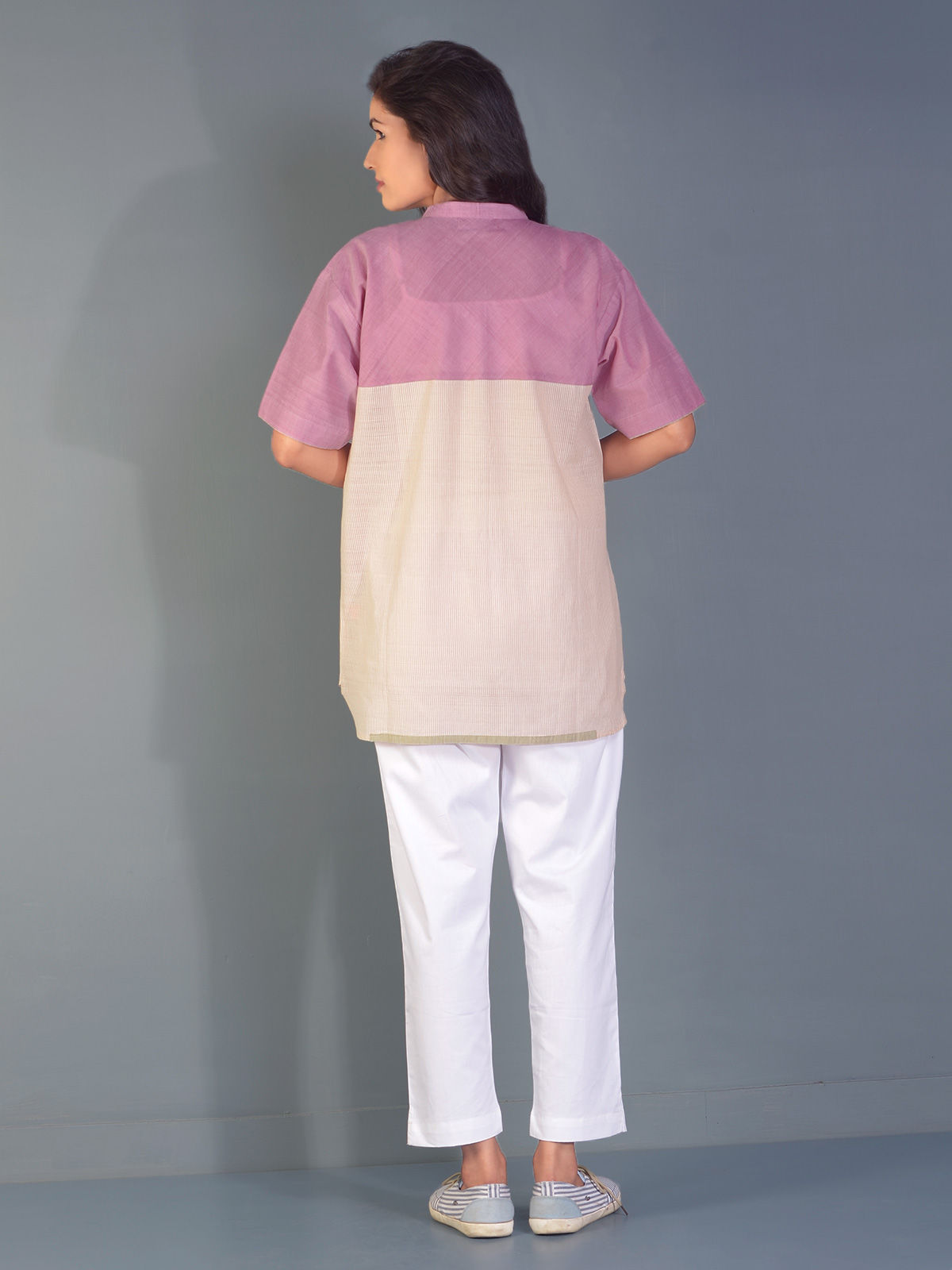 Coconut Crepe block shirt