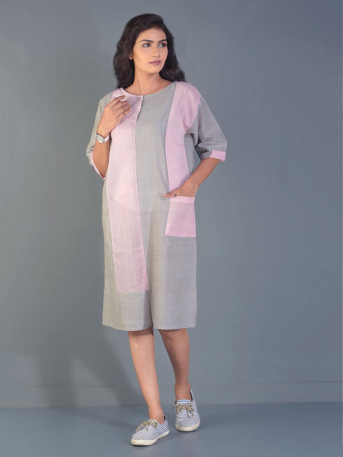 Crepe line block tunic