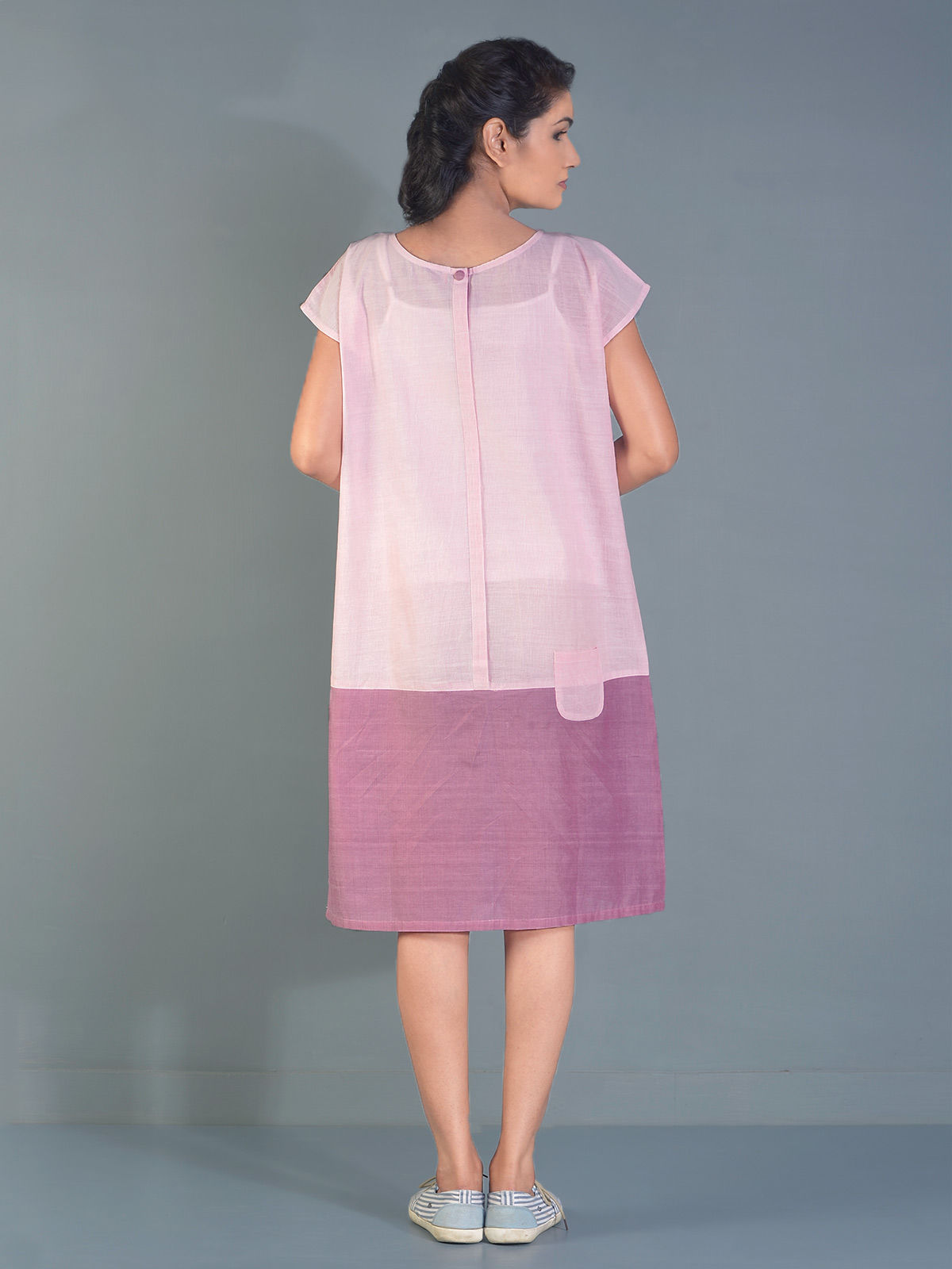 Crepe Taffy pocket block tunic