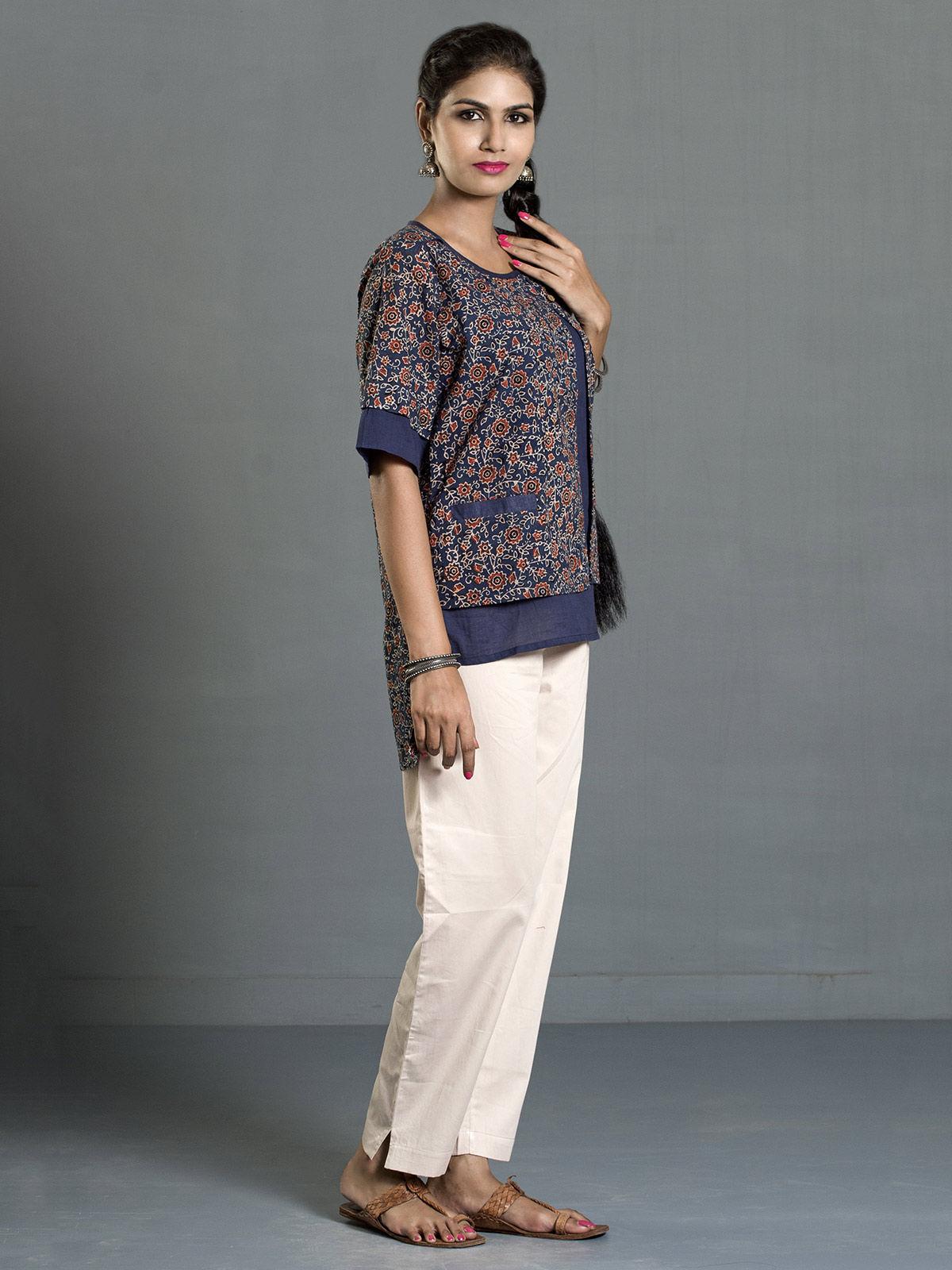 Indigo-Red Ajrak Printed Asymmetrical Cotton Top