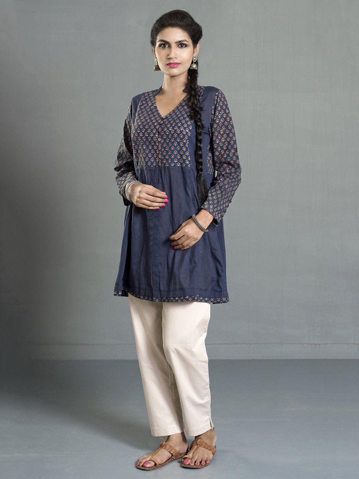 Indigo Ajrak Printed Cotton Pleated Tunic