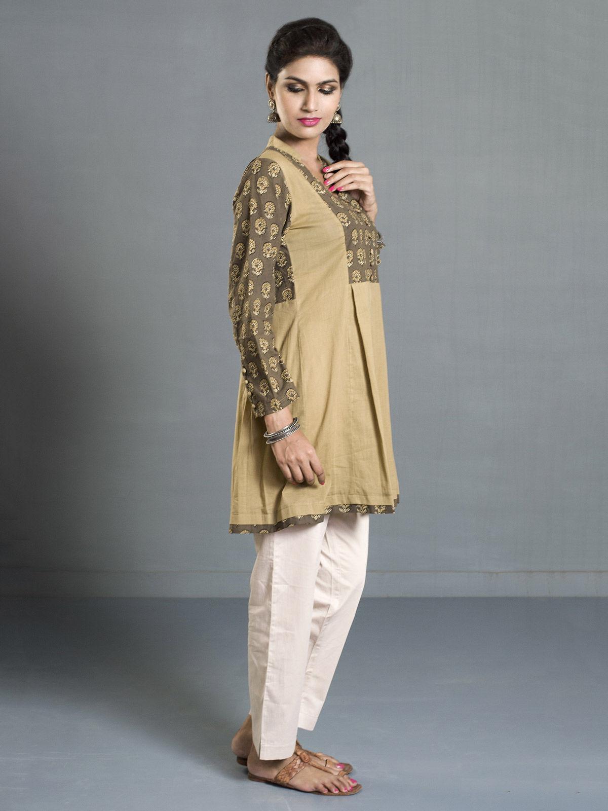 Olive Ajrak Printed Cotton Pleated Tunic