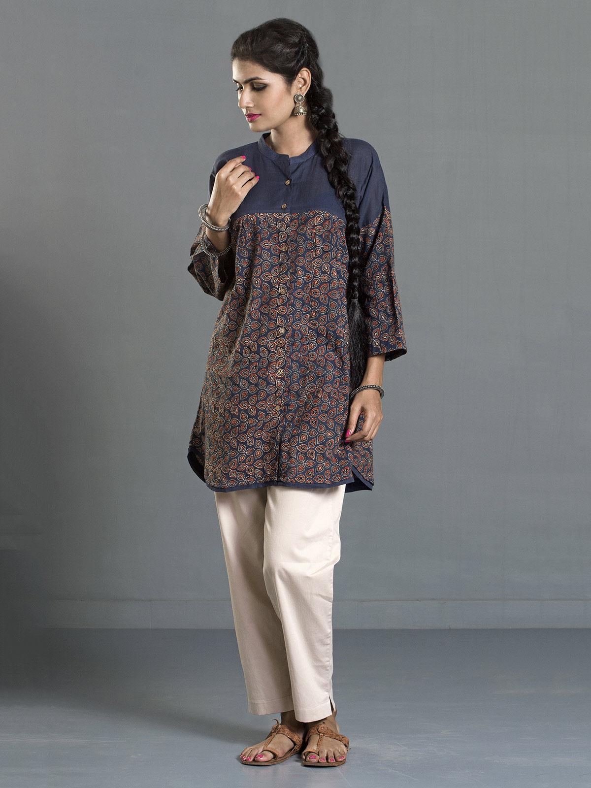 Indigo Ajrak Printed Cotton Buttondown Shirt