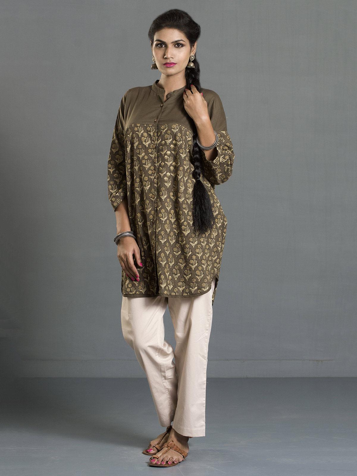 Olive Ajrak Printed Cotton Buttondown Shirt
