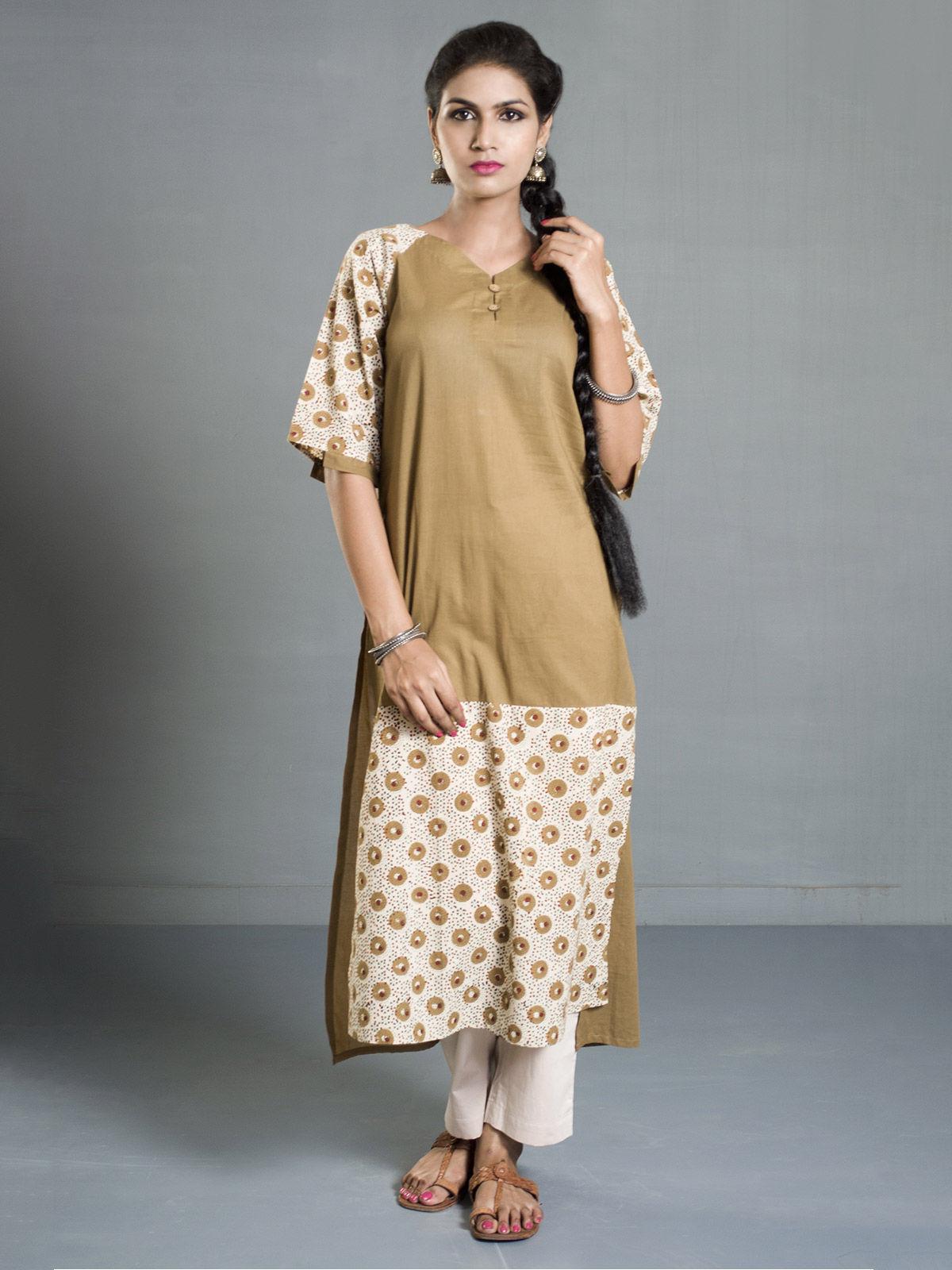 White-Mustard Ajrak Printed Asymmetrical Cotton Kurta