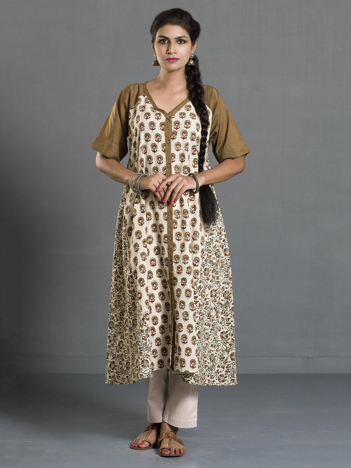 Olive Ajrak Printed Cotton Buttondown Kurta