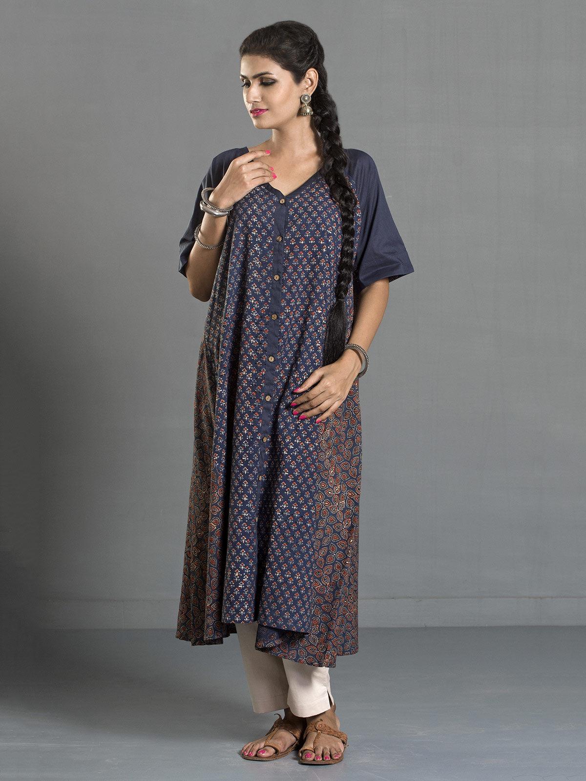 Indigo Ajrak Printed Cotton Buttondown Kurta