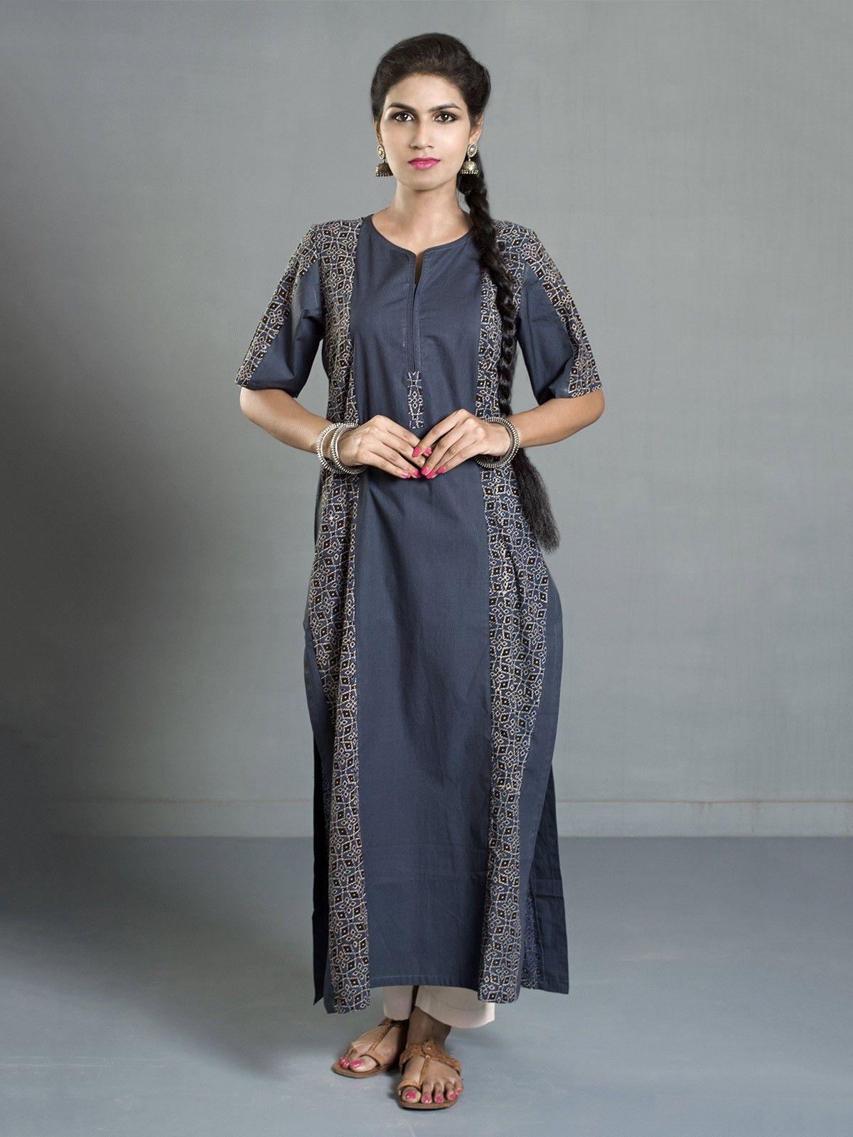 Indigo Ajrak Printed Cotton Flared Kurta