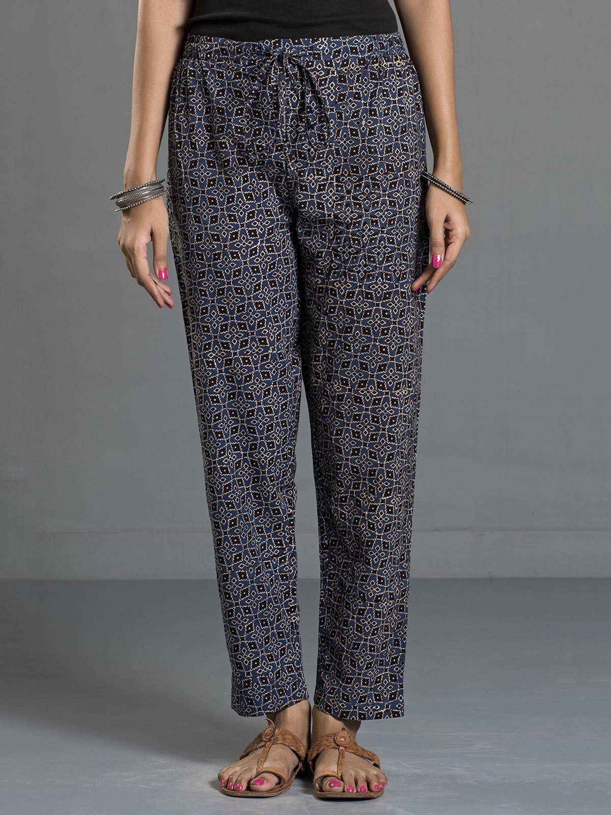 Indigo Ajrak Printed Tie-up Cotton Pants