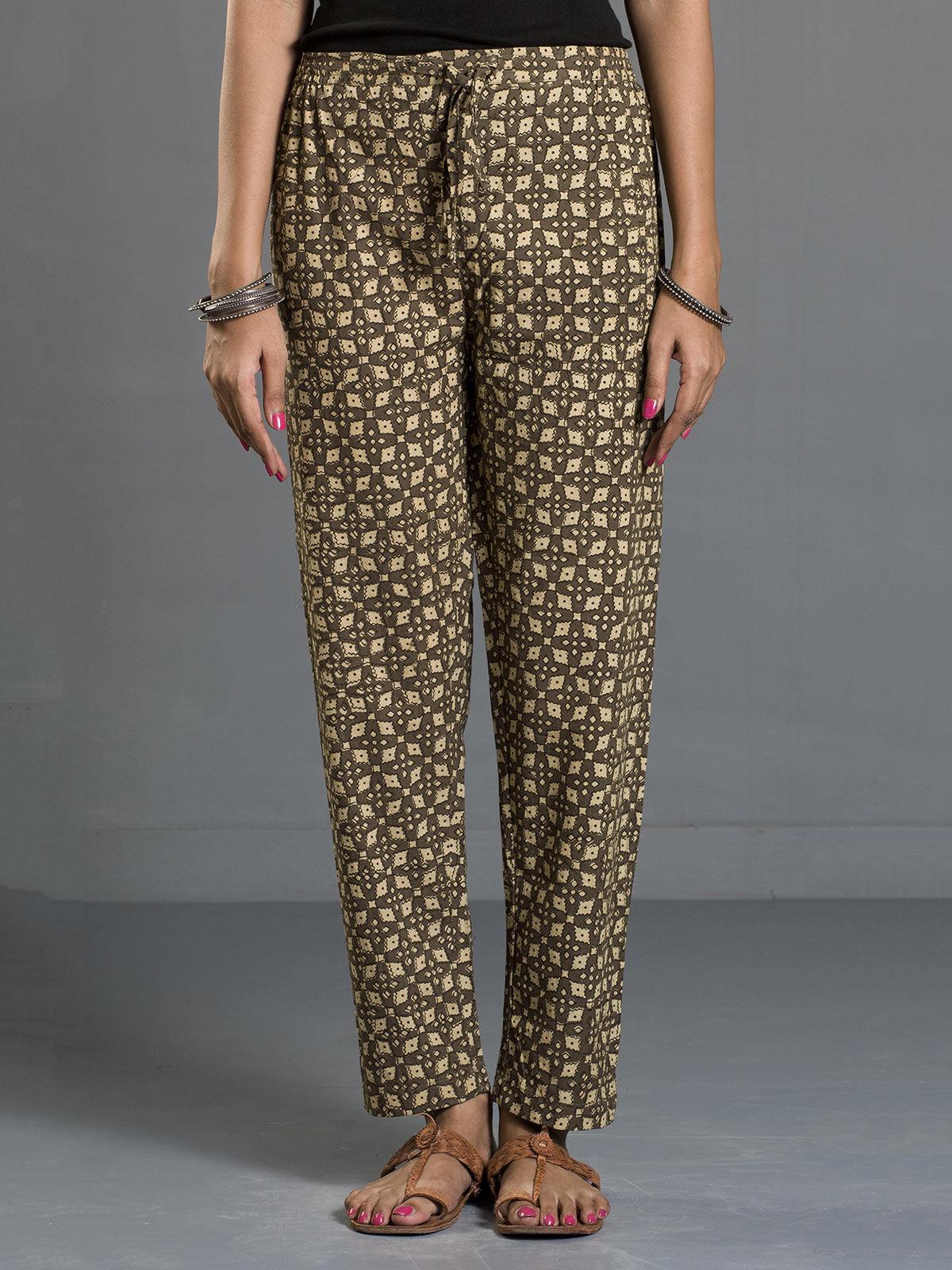 Olive Ajrak Printed Tie-up Cotton Pants