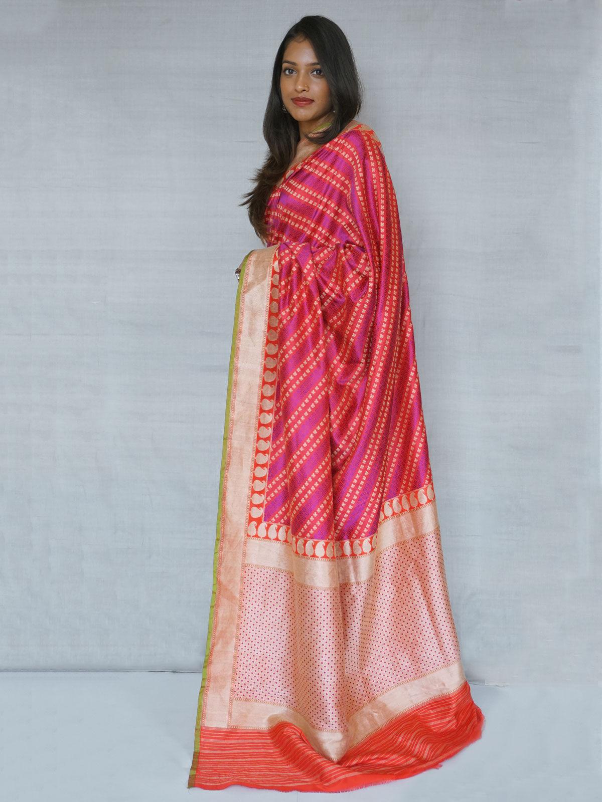 Bright magenta and purple Banarase  pure  silk saree  with blouse.