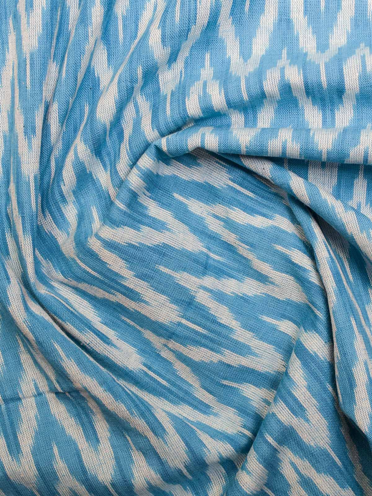 White and Blue Ikat Cotton Fabric