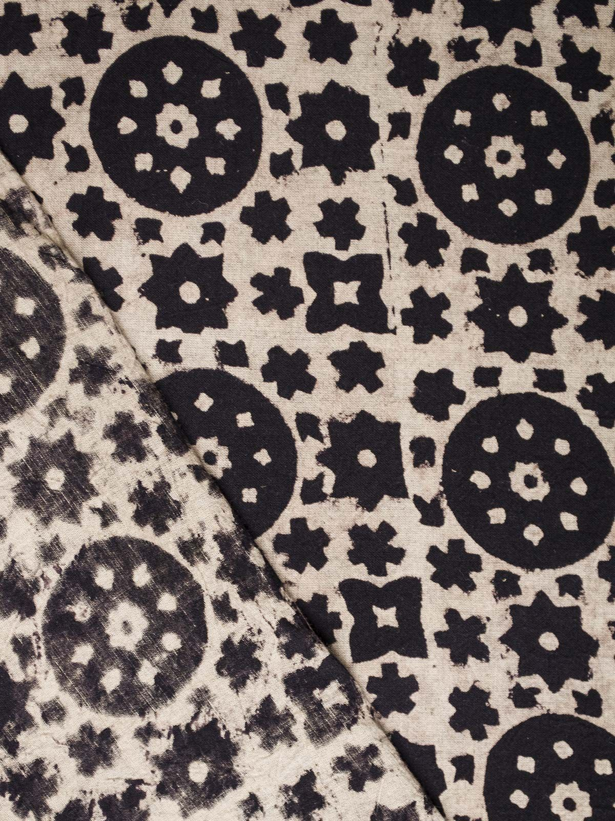 Black and White Ajrak Block Print Cotton Fabric