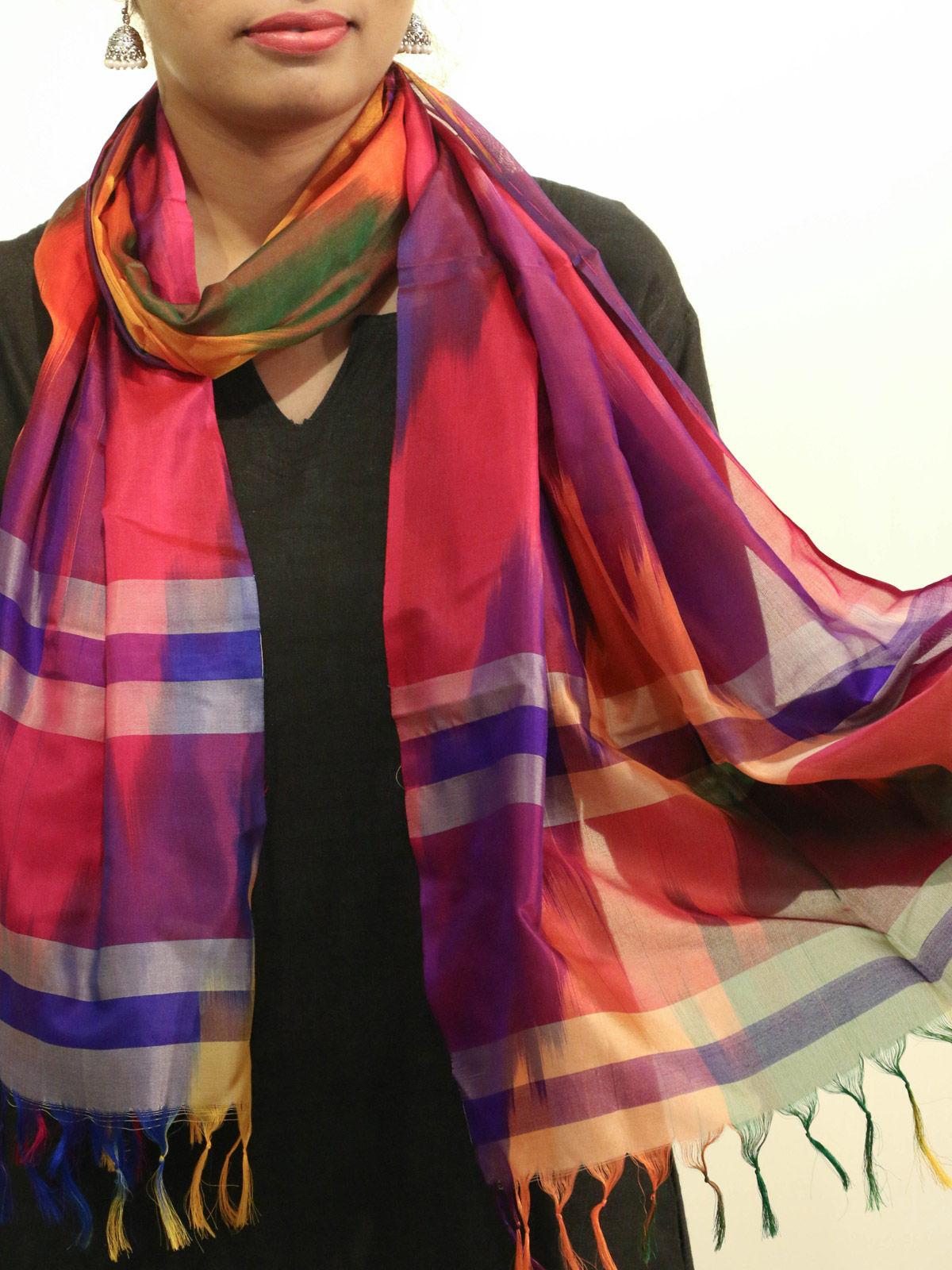 Orange-Purple handwoven pure silk stole