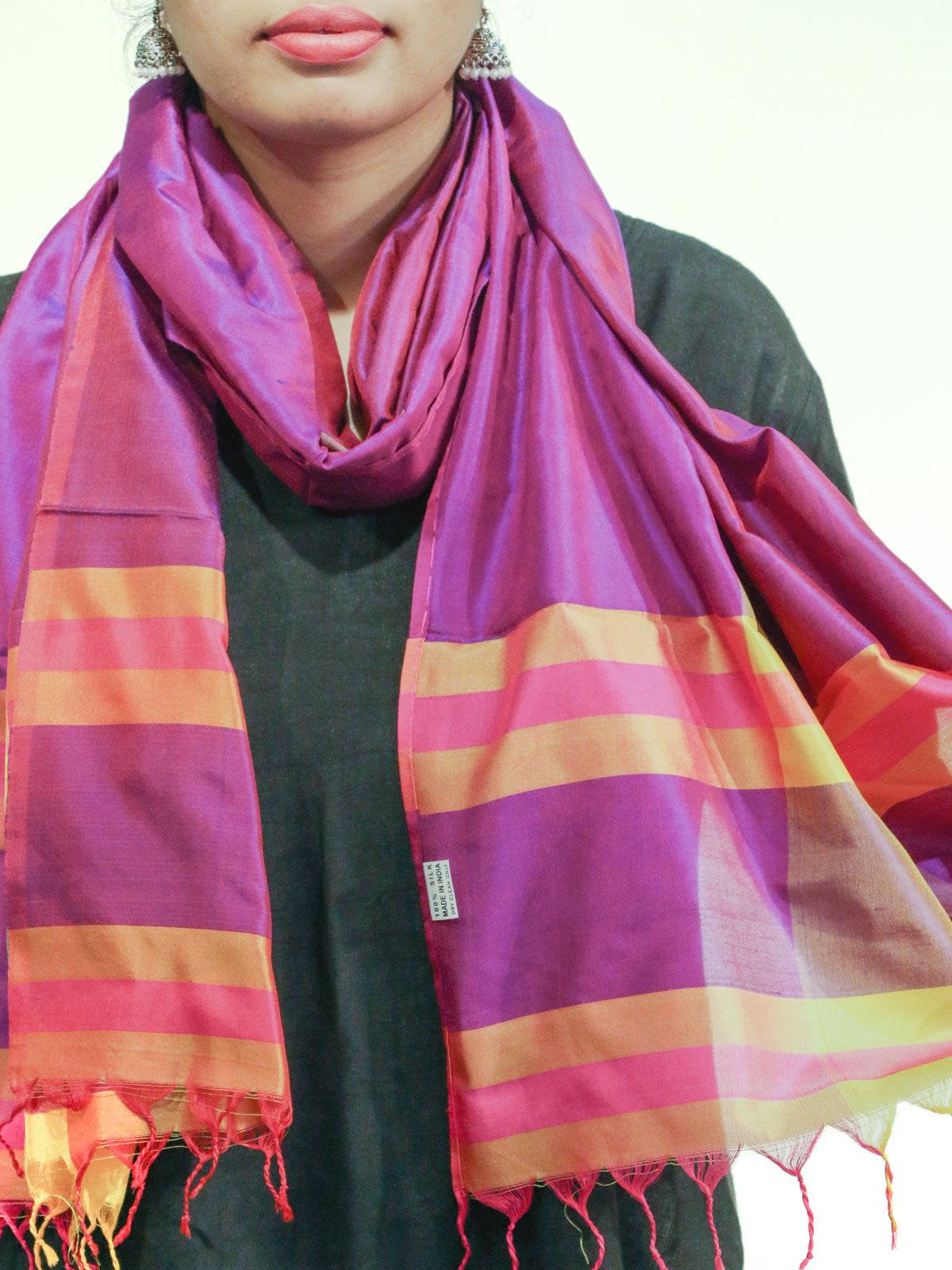 Purple color handwoven pure silk stole