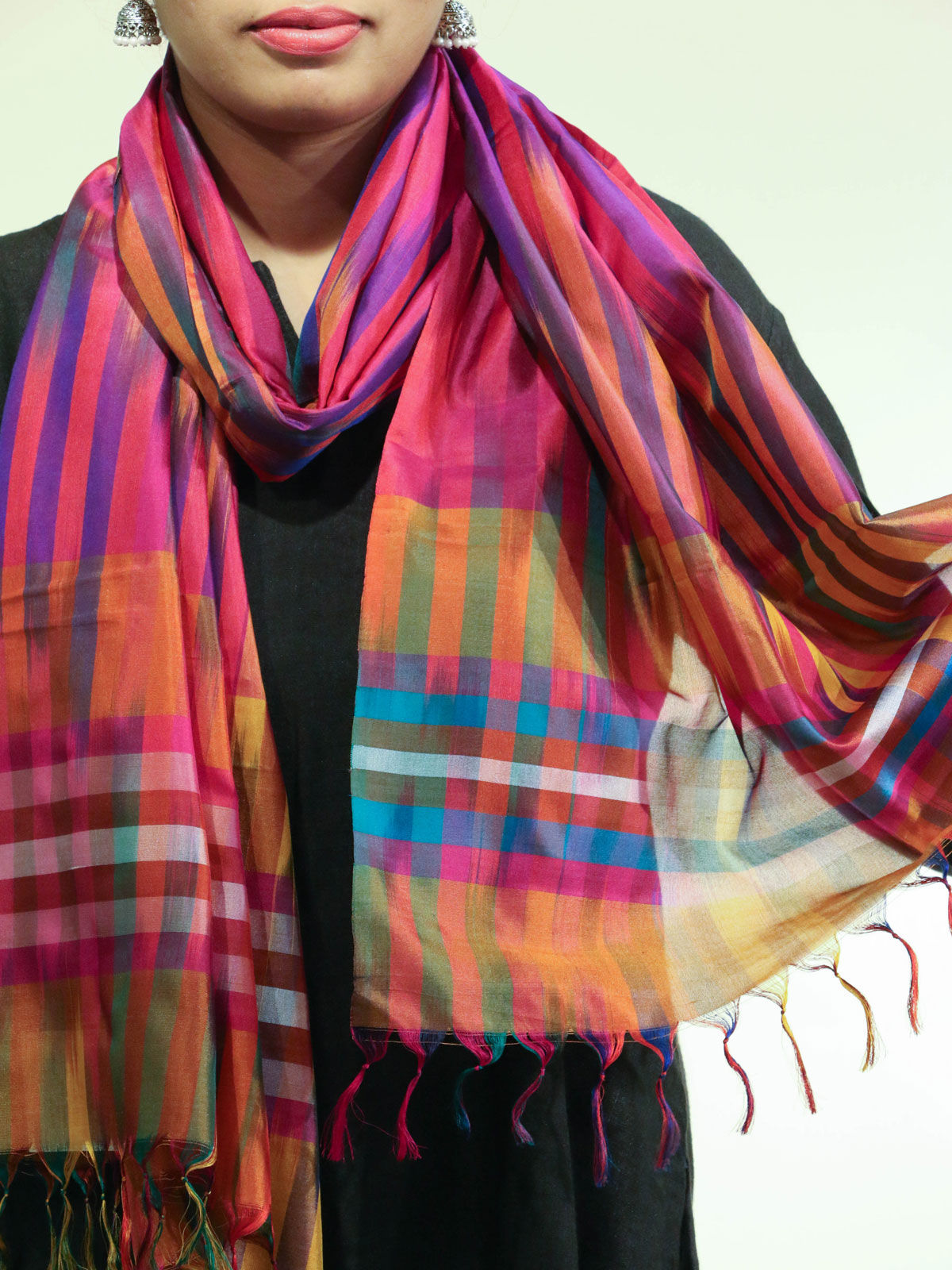 Purple-Pink handwoven pure silk stole