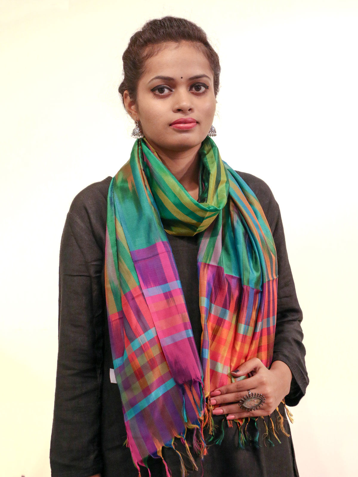 Green-pink tone handwoven pure silk stole