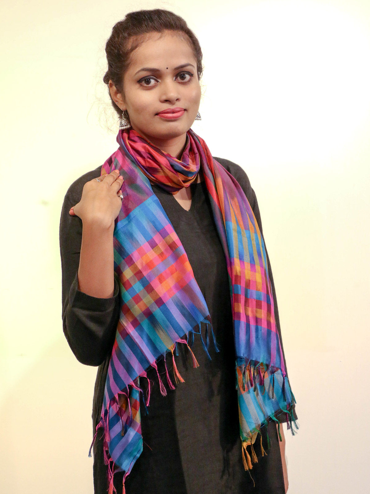 Multicolor handwoven pure silk stole