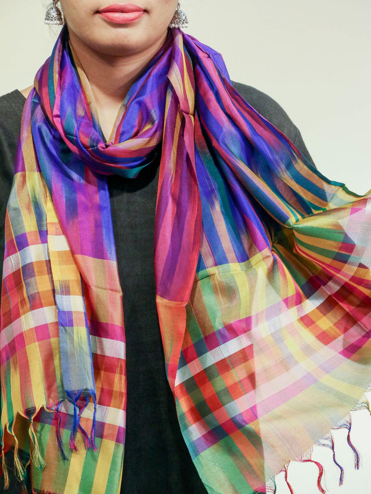 Purple-Yelllow color handwoven pure silk stole