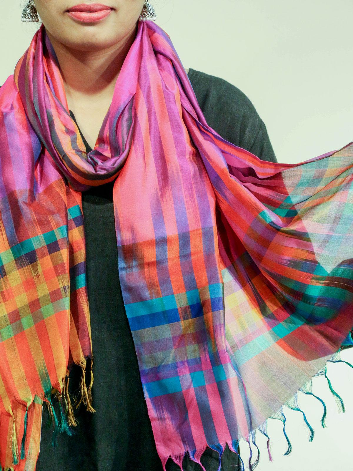 Multicolor handwoven pure silk stole