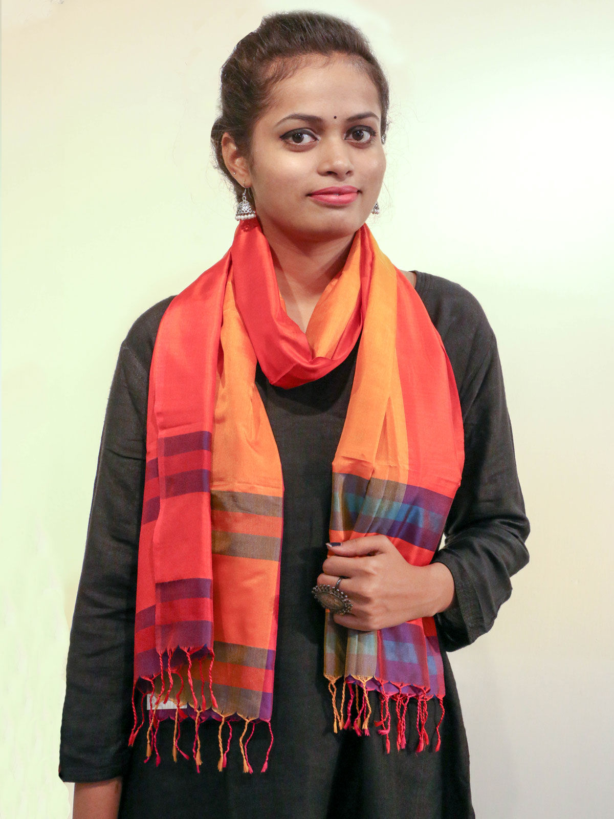 Orange color handwoven pure silk stole
