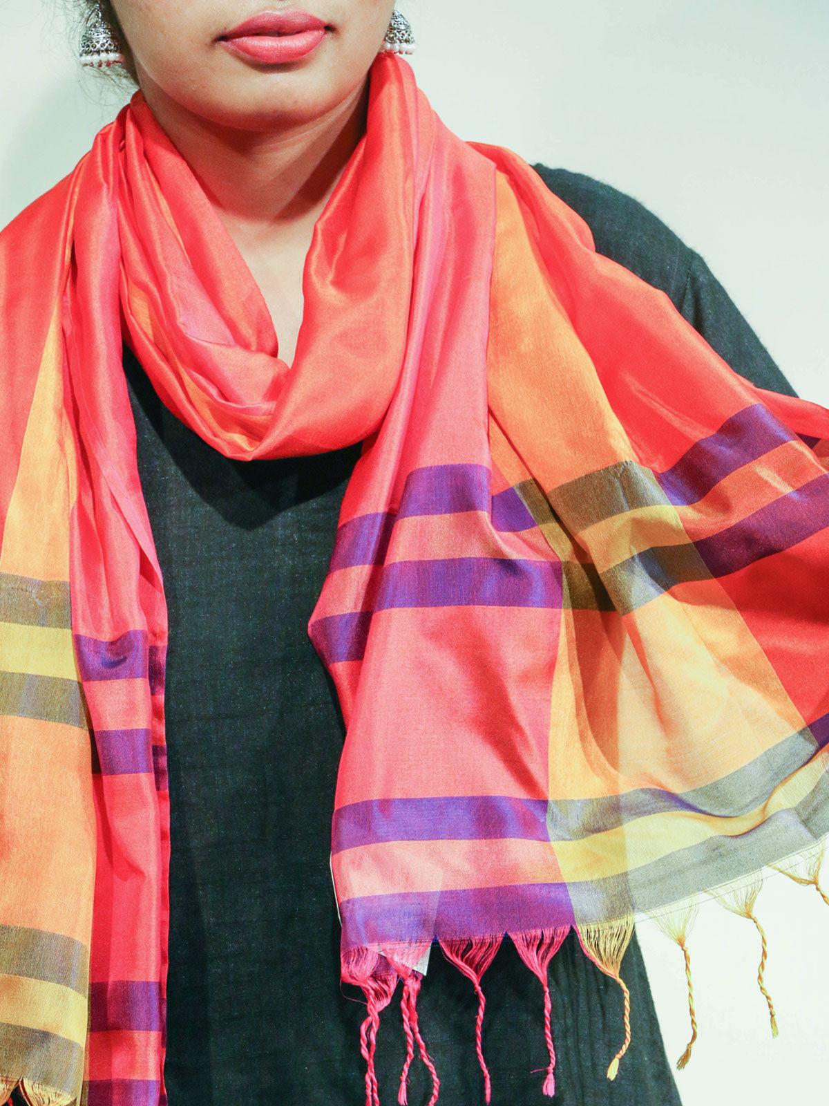 Orange color handwoven pure silk stole