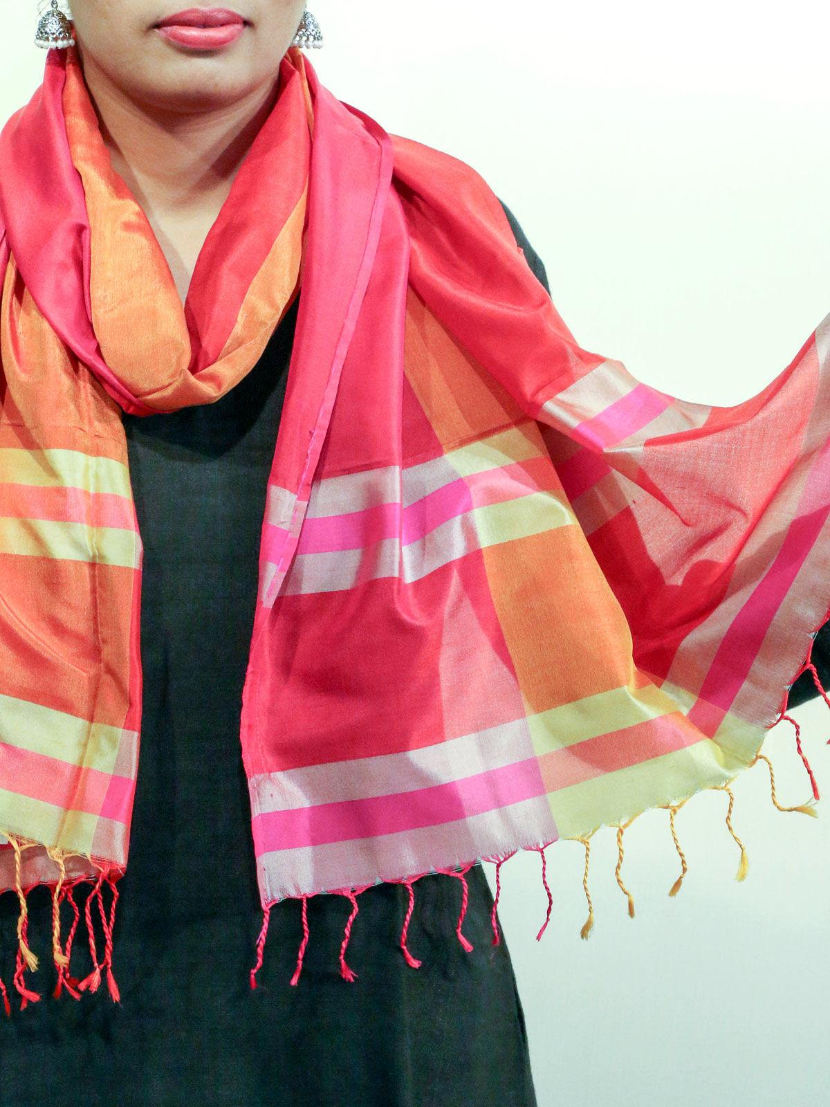 Red-Orange handwoven pure silk stole