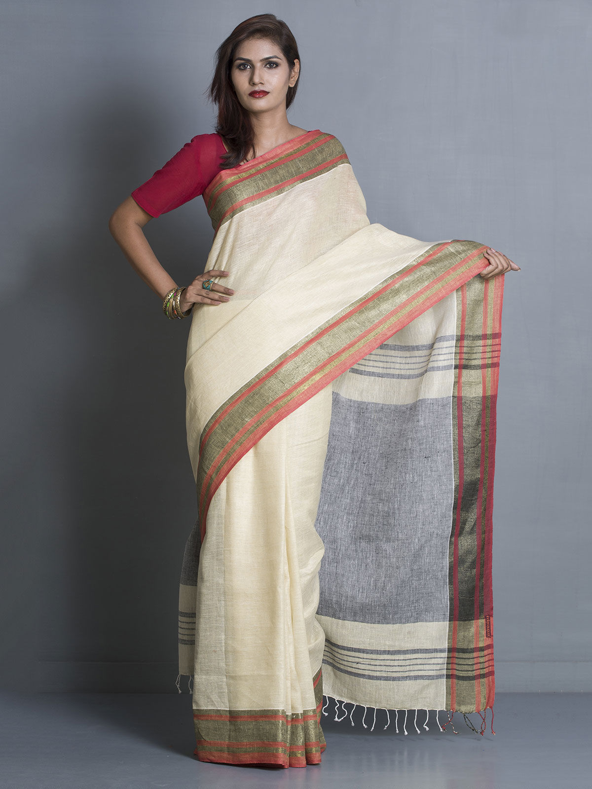 White Linen Saree