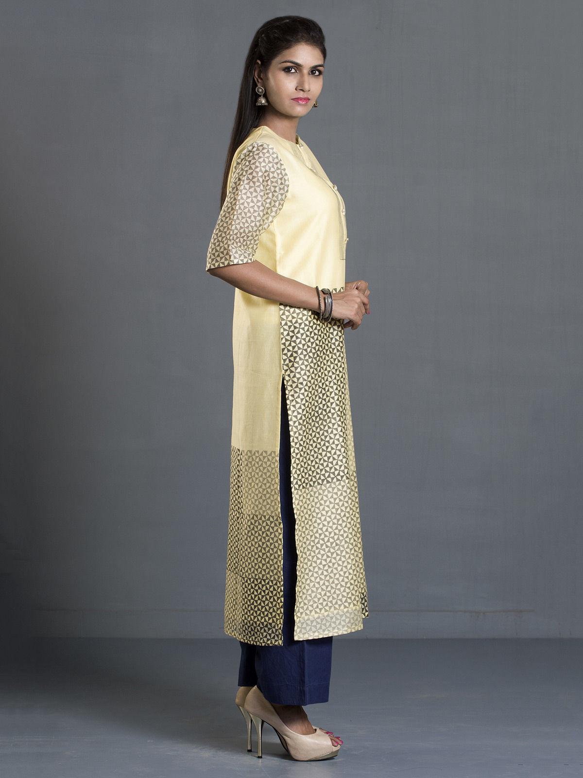 Yellow and Grey Block Print Long Chanderi Kurta