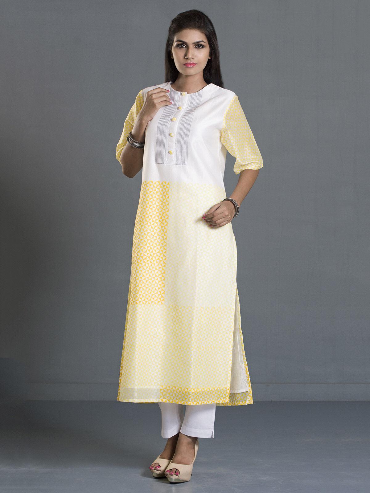 White and Yellow Block Print Long Chanderi Kurta