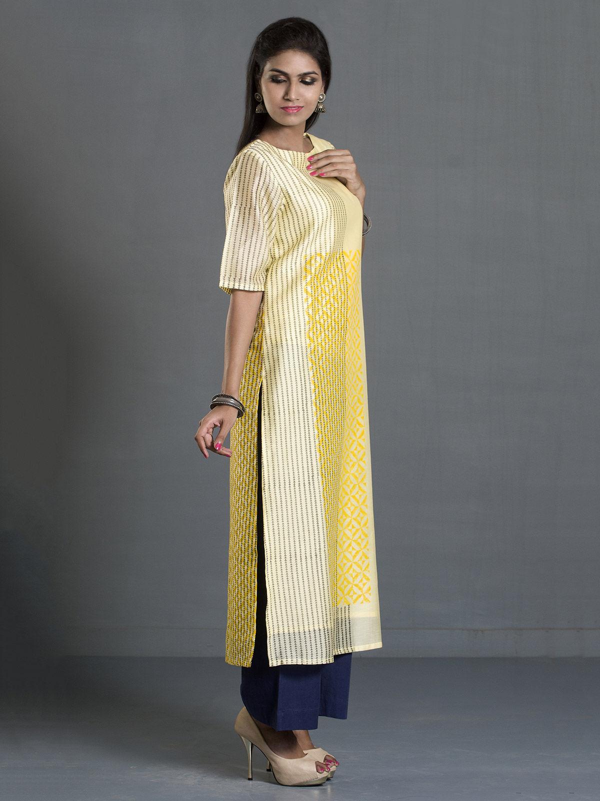 Yellow Block Print Long Chanderi Kurta