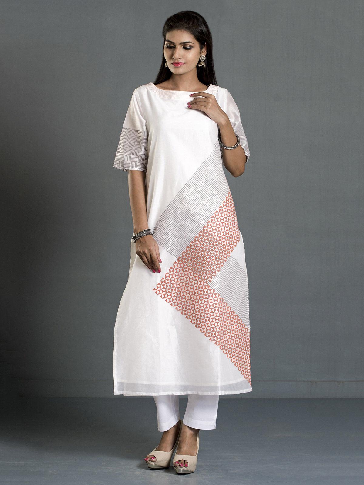 White Diagonal Stripes Block Print Long Chanderi Kurta