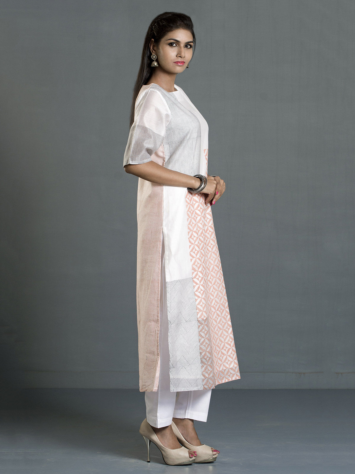White and Orange Block Print Long Chanderi Kurta