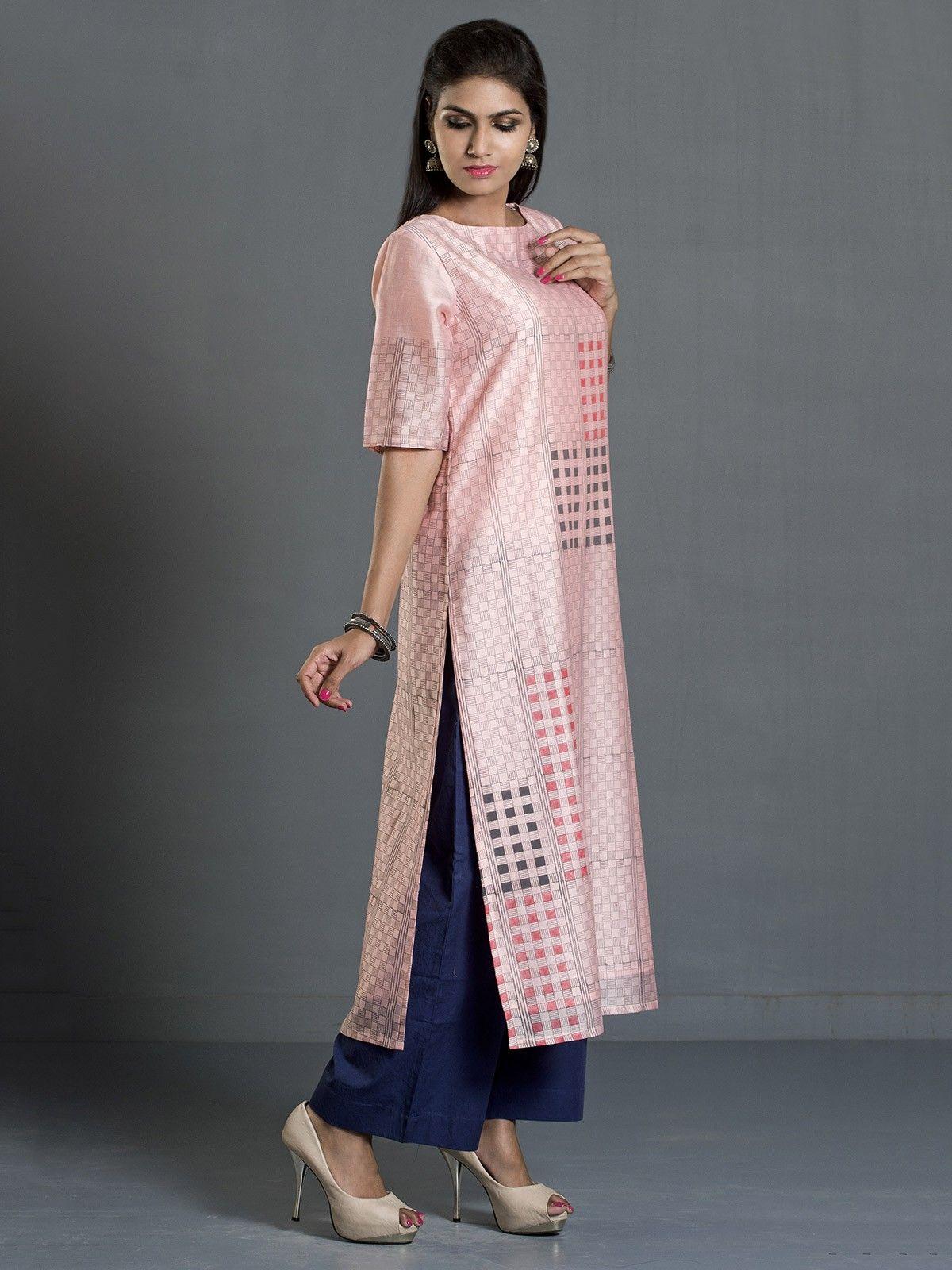 Peach Checks and Stripes Block Print Long Chanderi Kurta
