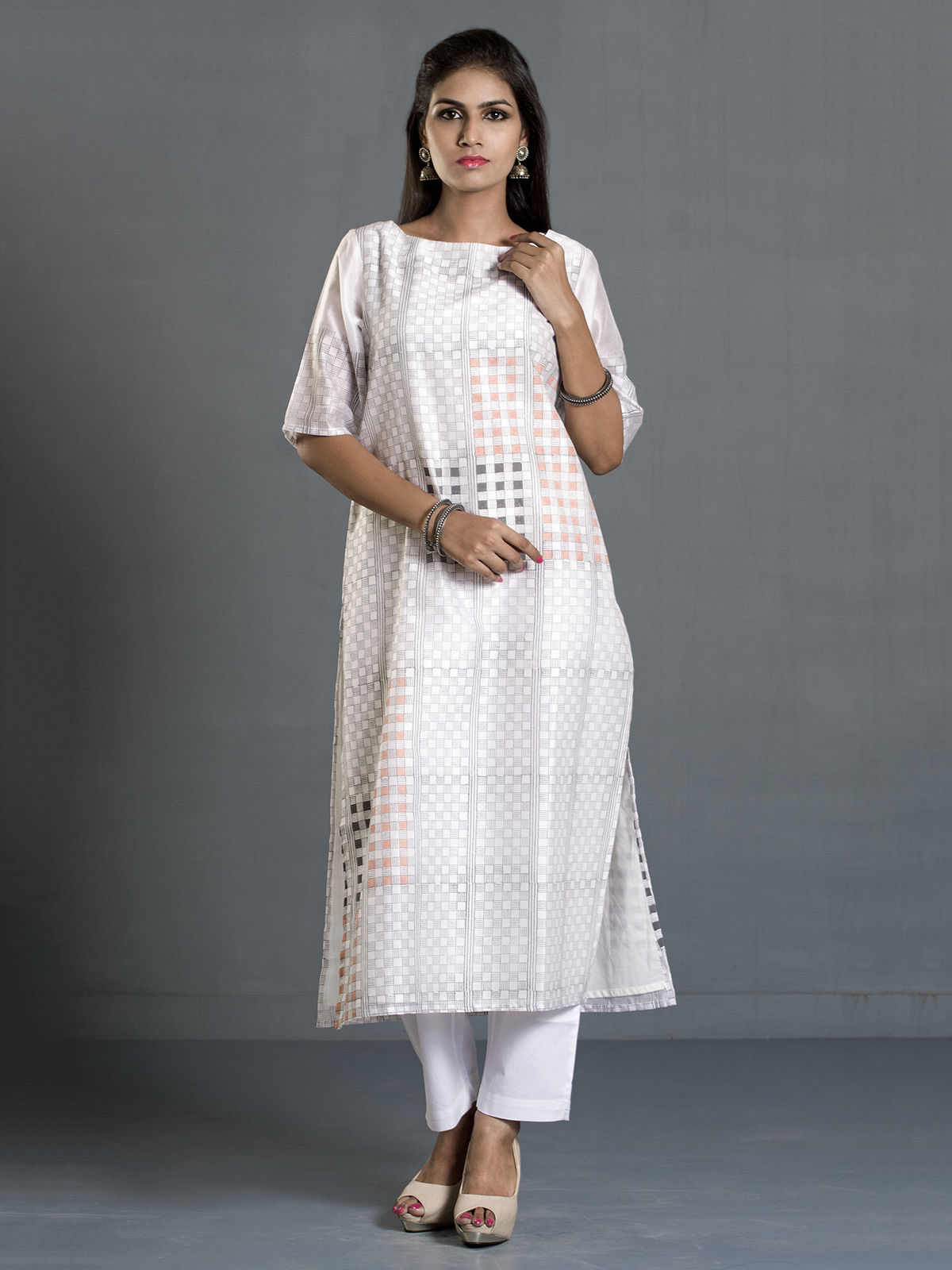 White Checks and Stripes Block Print Long Chanderi Kurta